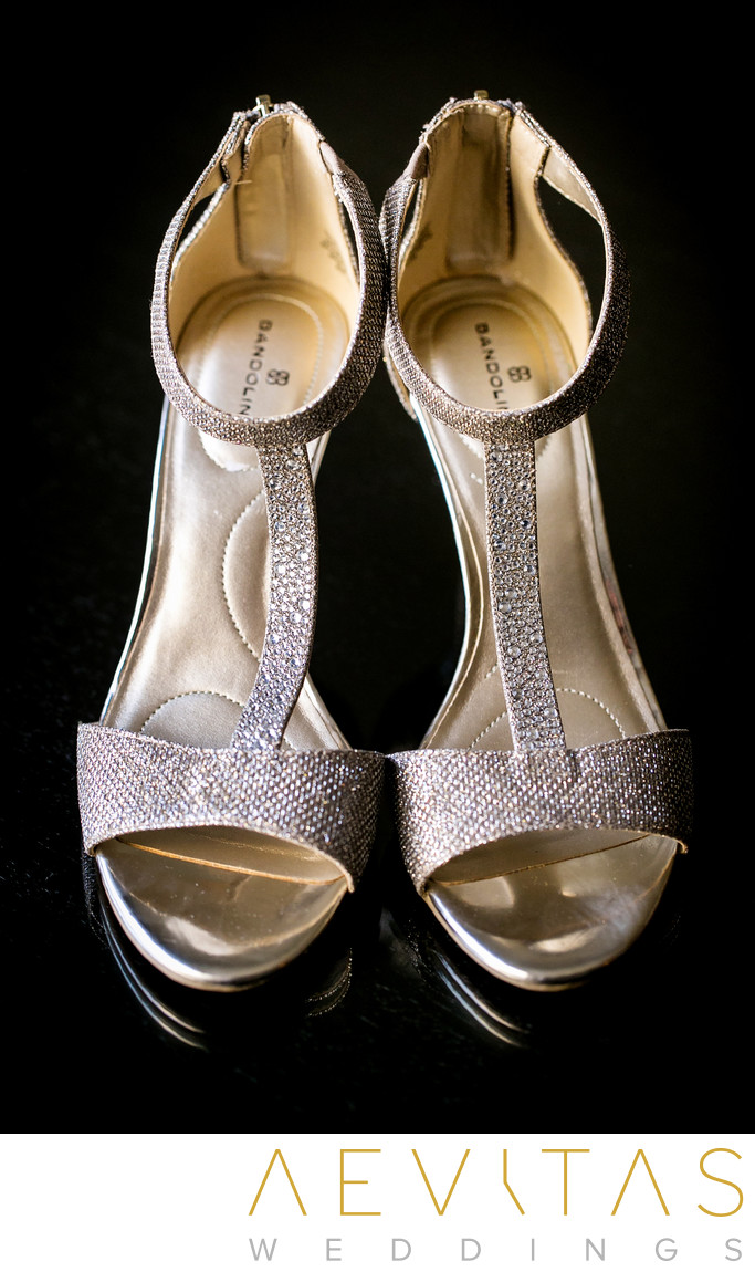 Bride's shoes details by Pomona wedding photographer