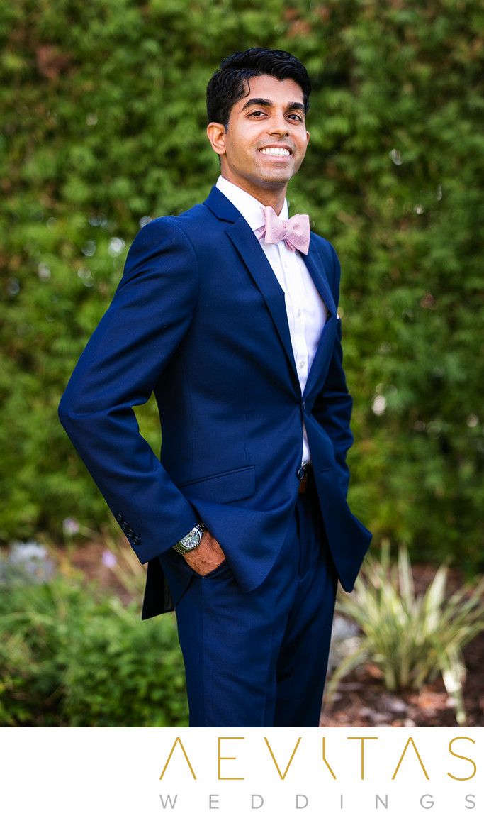 Groom portrait by Pomona Indian wedding photographer