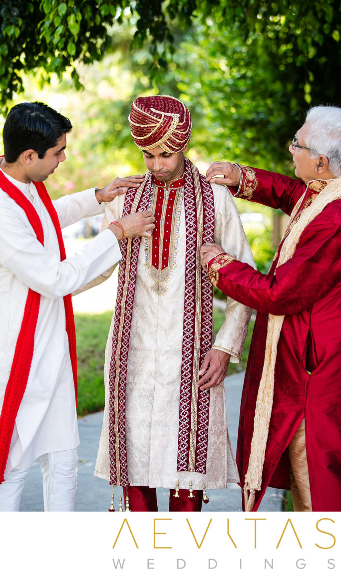 Indian groom getting ready with brother and dad Pomona