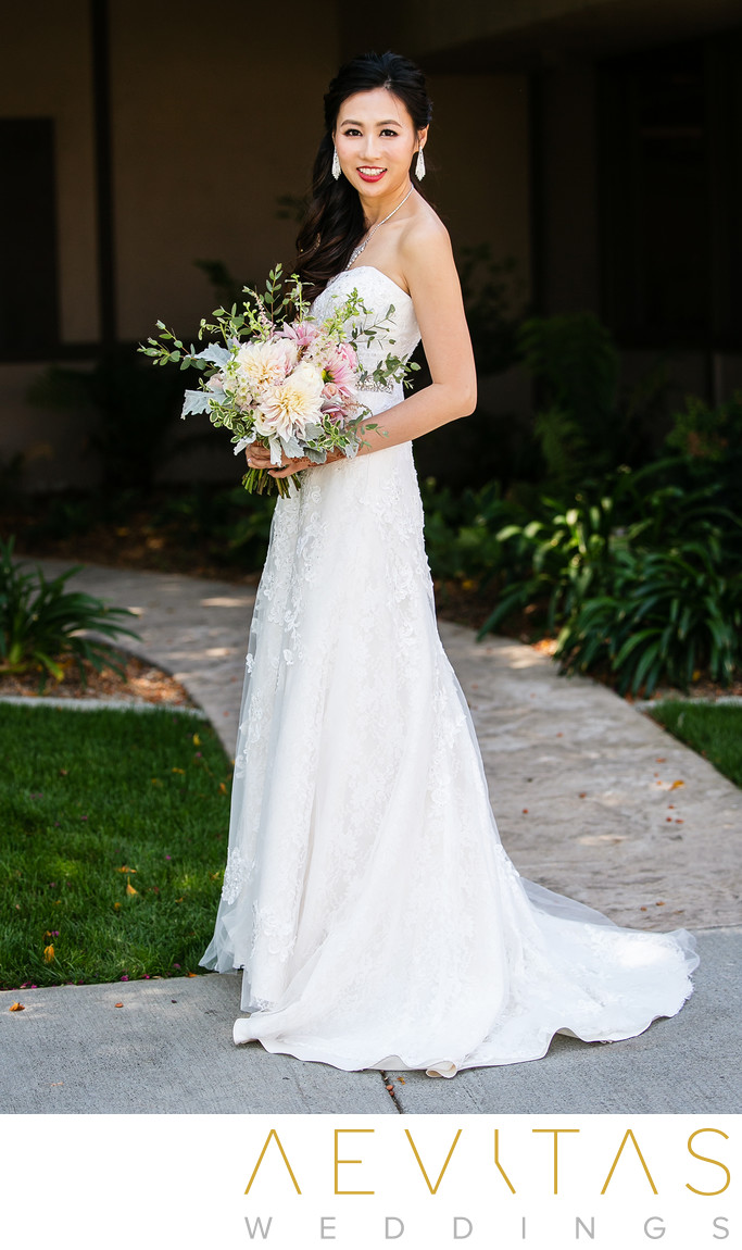 Bride portrait with bouquet by Pomona photographer