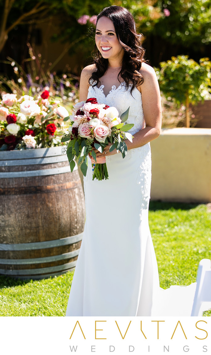 Beautiful bride moment at Landmark Vineyards wedding