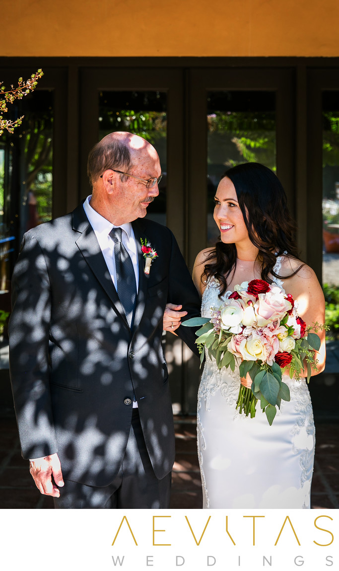 Bride with dad special moment at Kenwood wedding