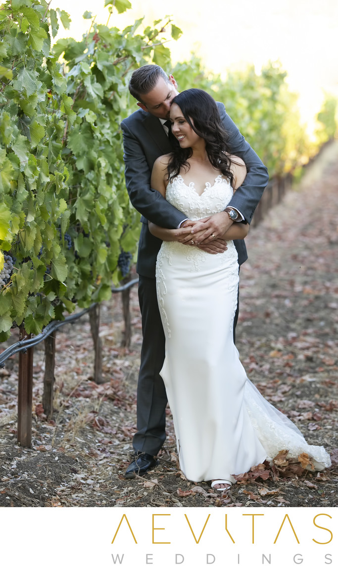Groom embracing bride at Landmark Vineyards in Kenwood