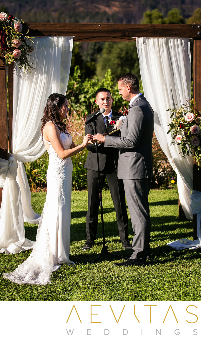 Couple ring exchange at Landmark Vineyards wedding