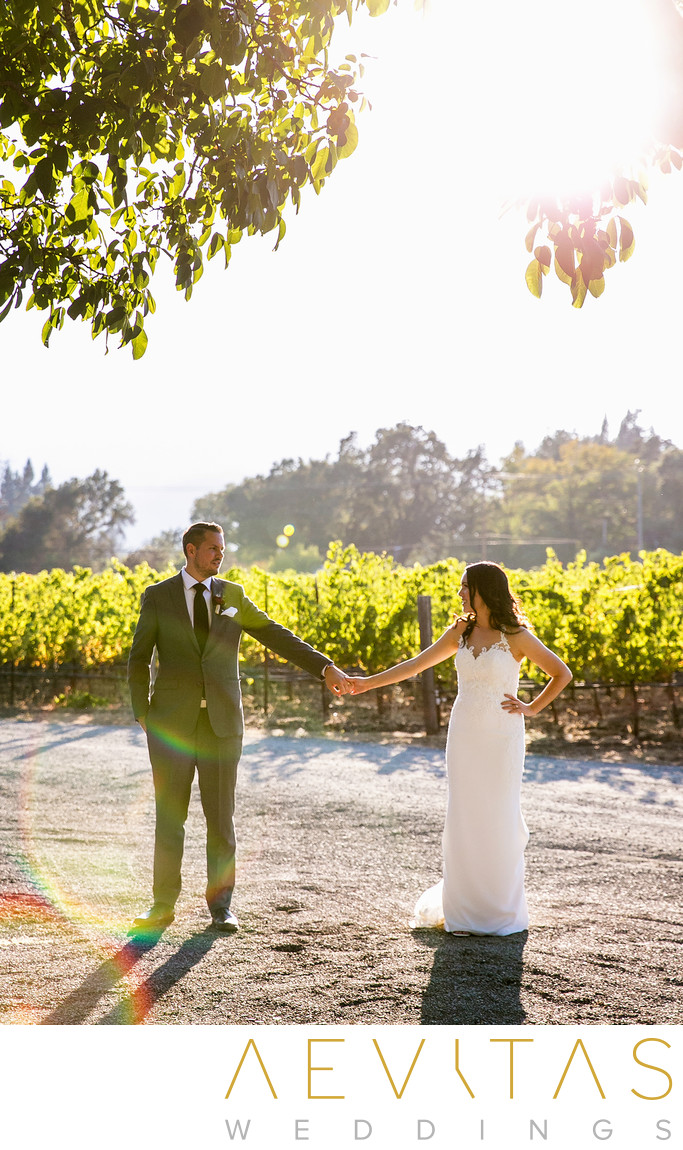 Whimsical couple portrait at Landmark Vineyards