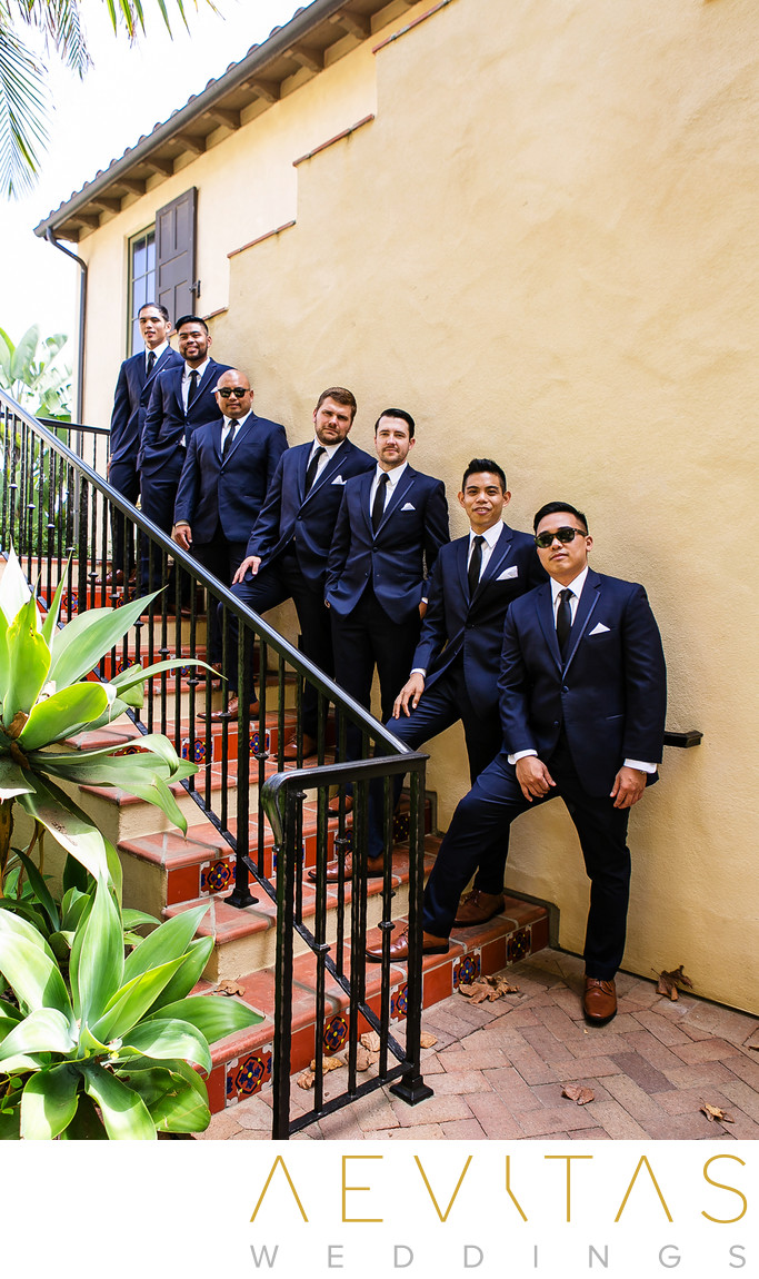 Groomsmen portrait on stairs at Terranea Resort
