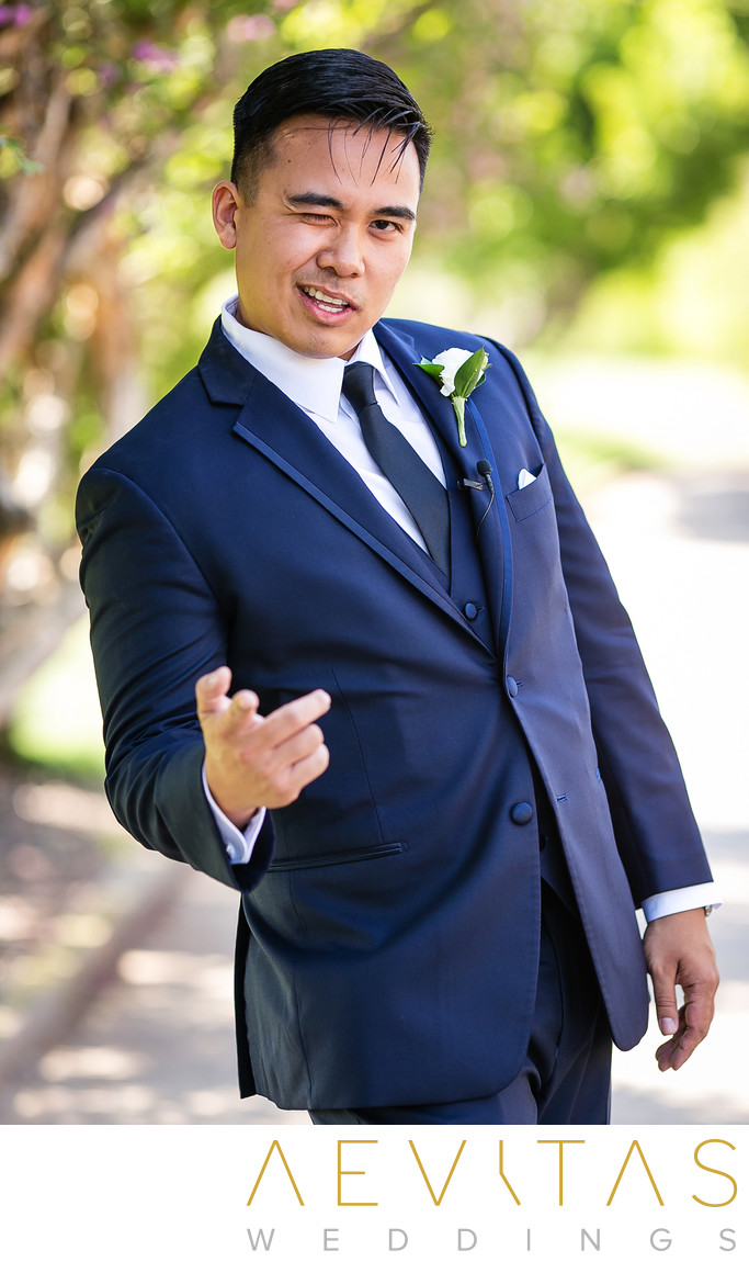 Fun groom portrait at Rancho Palos Verdes wedding