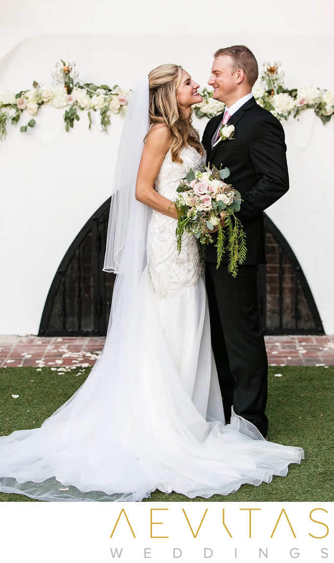 Couple portrait at Casino San Clemente ceremony site