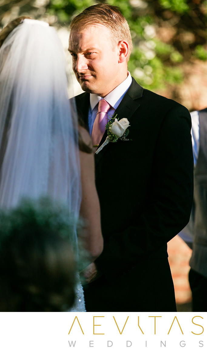 Groom candid at Casino San Clemente wedding ceremony