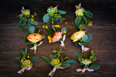 Boutonnieres by Santa Barbara wedding photographer