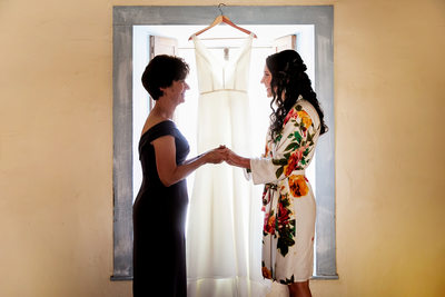 Bride and mom at Santa Barbara Historical Museum