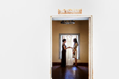 Creative photo of bride and mom getting ready