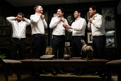 Groom and groomsmen getting ready photo in LA
