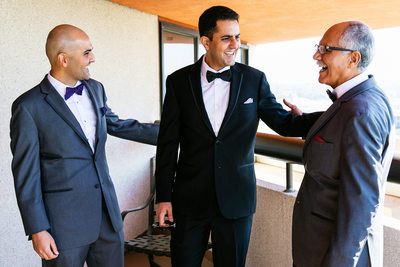 Special moment groom, father and brother Hotel Irvine