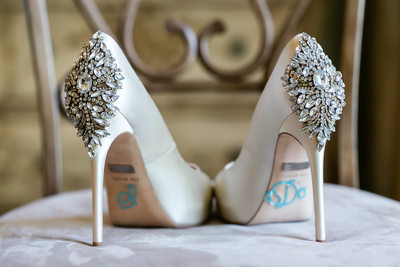 Diamante shoe detailing at Sacramento wedding