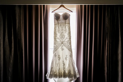 Wedding dress in suite window at Hilton Los Angeles