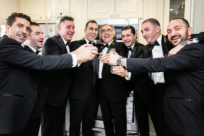 Groomsmen toast in private Glendale residence