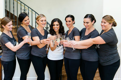 Bridesmaid champagne toast at LA private residence