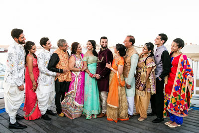 Indian wedding family portrait in Newport Beach