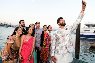 Selfie family photo at Newport Beach Indian wedding