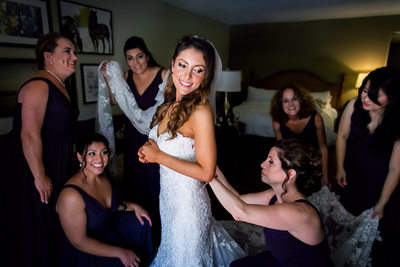 Bride getting ready with bridesmaids in Santa Barbara