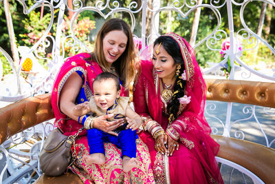 Indian bride and young wedding guest special moment