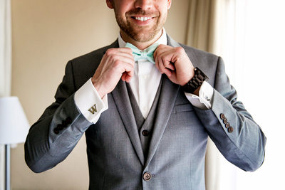 Creative groom portrait by Cancun wedding photographer