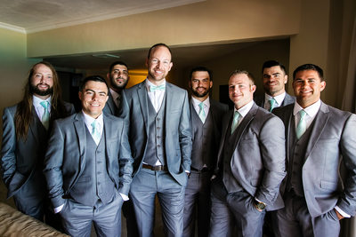 Groom and groomsmen portrait in Cancun, Mexico