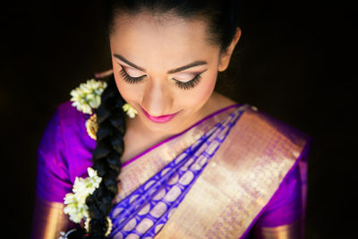 Beautiful close-up Indian bride portrait in San Diego