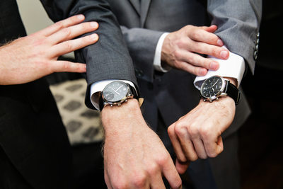 Groom and best man matching watches at LA wedding