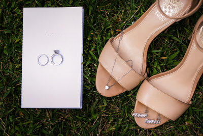 Bride's shoes and jewelry at Trump National Golf Club