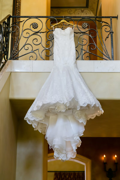 Wedding dress hanging at Arden Hills Resort Club