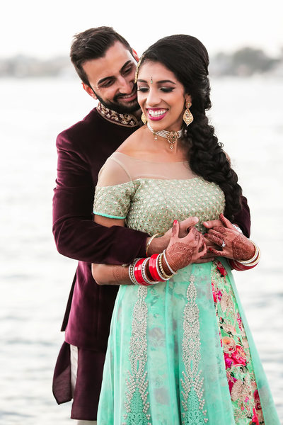 Indian bride and groom portrait in Newport Beach