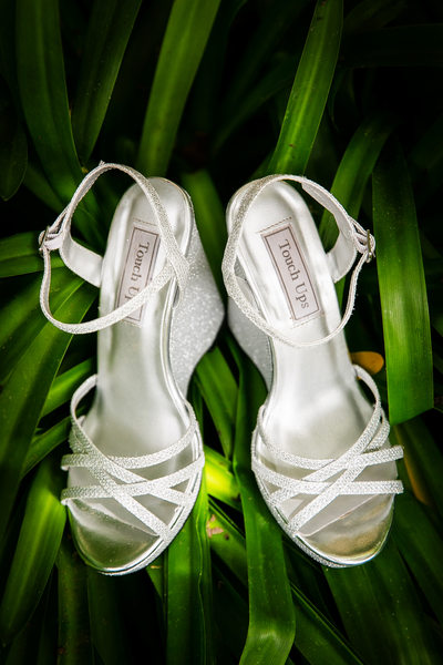 Bride's silver shoes in greenery, Santa Barbara