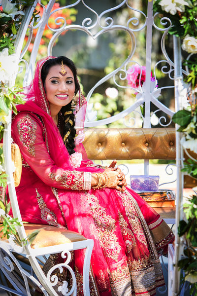 Bride in carriage at Sikh Gurdwara Temple in Poway