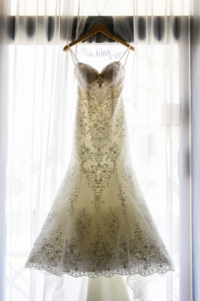 Wedding dress hanging in suite at Omni Cancun Hotel