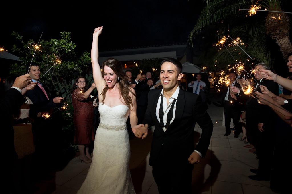 Brazilian Court Palm Beach Wedding Sparkler Exit
