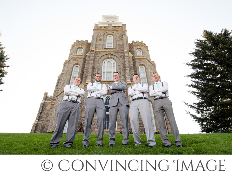 Groomsmen at Logan Utah Temple