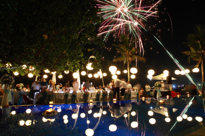 Fireworks Bali Beach Garden Wedding