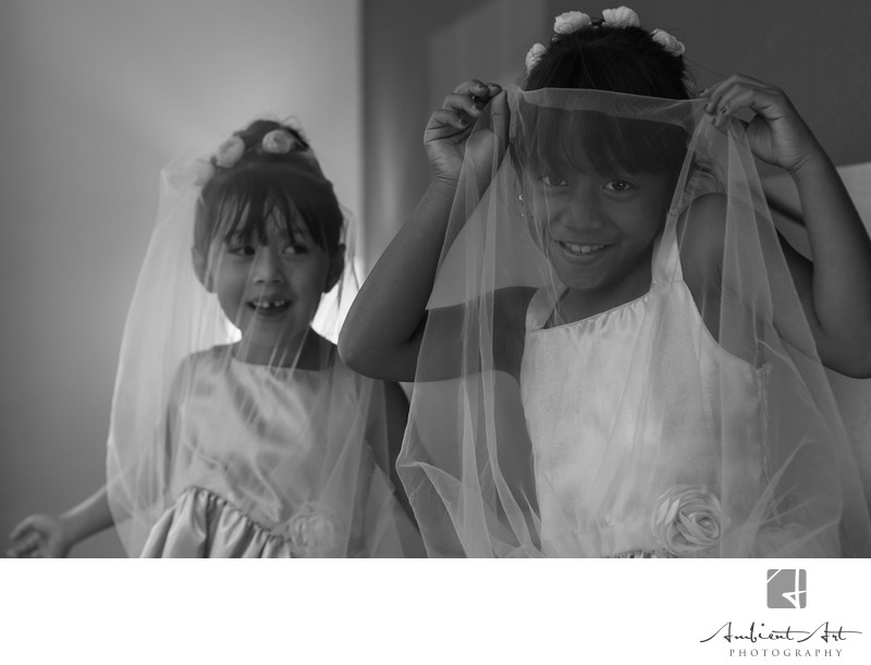 Flower girls playing with Bridal Veil Kingsburg, CA