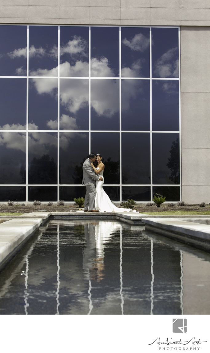 Bride and Groom reflection at People's Church