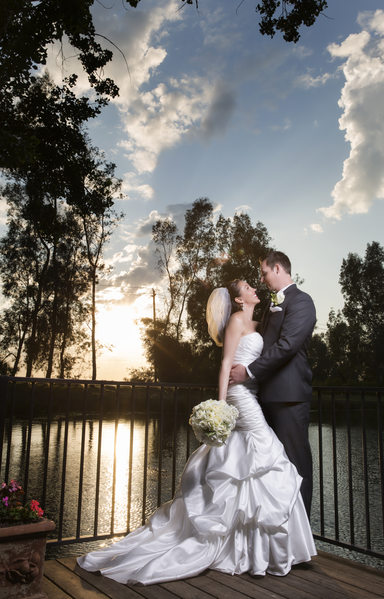 Bride and Groom enjoy the sunset. Wolf Lakes, Sanger