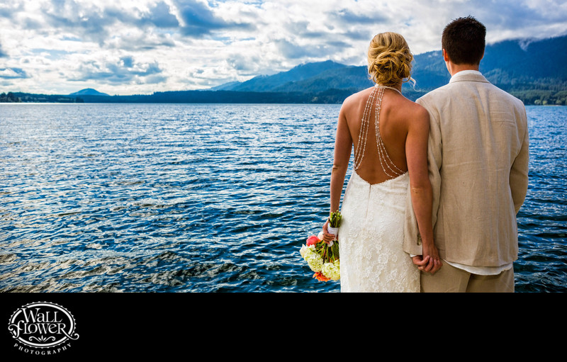 Bride and groom look out at Lake Quinault — panorama crop