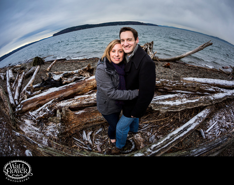 Engagement portrait on frosty Owen Beach