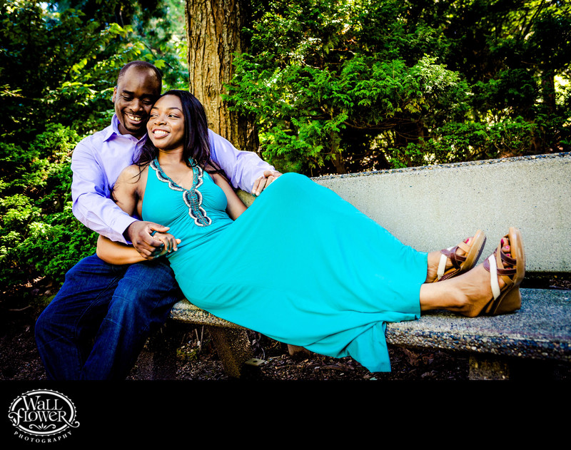 Engagement portrait on bench at Point Defiance Park