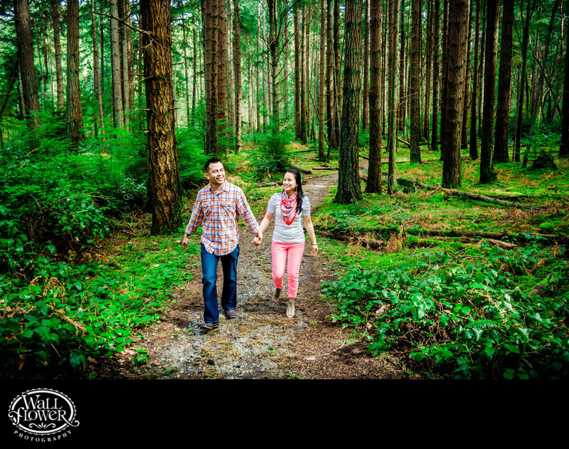 Engagement portrait on Point Defiance Park forest trail