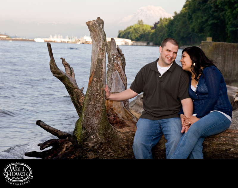 Engagement portrait of couple on Owen Beach driftwood