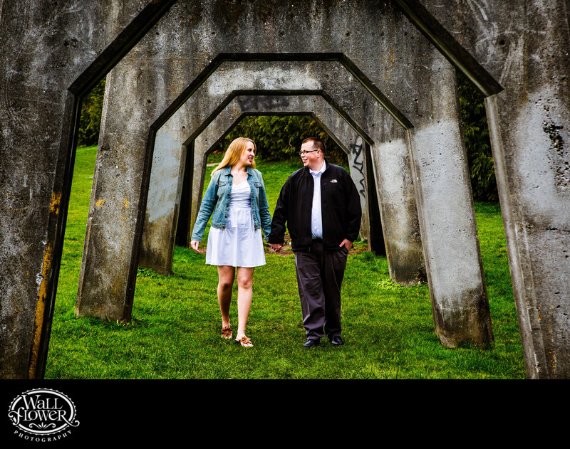 Engagement portrait under arches at Gas Works Park