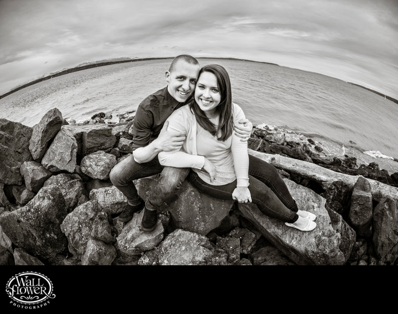 Engagement portrait on beach at Discovery Park Seattle