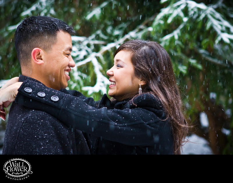 Engagement portrait in Point Defiance Park snowstorm